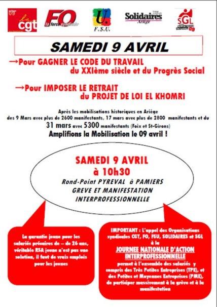 Manifestation Departementale Du Samedi 9 Avril Pour Le